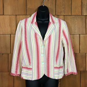 CAbi colorful seersucker blazer jacket ruffles